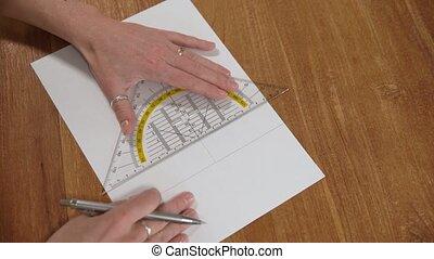 dessins, blanc, règle, dessiné, papier, images, crayon