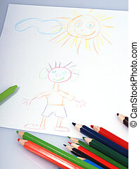 dessins, et, crayons