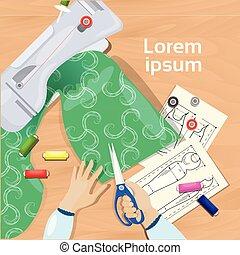 dessins, tissu, concept, angle, fonctionnement, sommet, mains, concepteur, mode, lieu travail, tenue, bureau, ciseaux, vue, table, vêtements