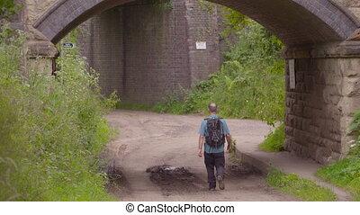 dessous, marche, pont, homme