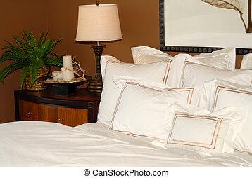 dessus-de-lit, blanc, nightstand, lit