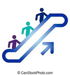 dessus, escalator