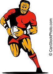dessus, joueur rugby, courant, sur, attaque