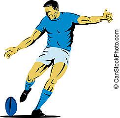 dessus, vue, de, a, joueur rugby, donner coup pied, a, balle