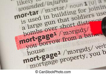 destacado, definición, hipoteca, rojo
