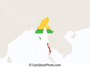 destacado, map., ásia, myanmar
