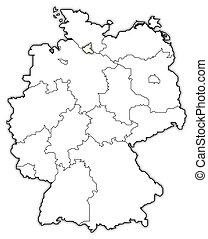 destacado, mapa, alemanha, hamburgo