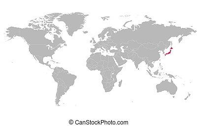 destacado, mapa, cor, mundo, vetorial, cor-de-rosa, japão, político