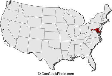 destacado, mapa, maryland, estados unidos