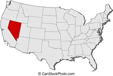 destacado, mapa, nevada, estados unidos
