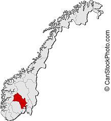 destacado, mapa, noruega, buskerud