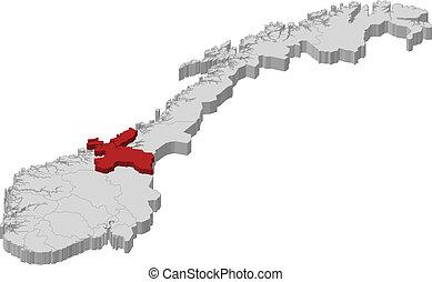 destacado, mapa, sor-trondelag, noruega