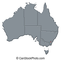 destacado, mapa, território, austrália, capital