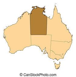 destacado, mapa, território, austrália, norte