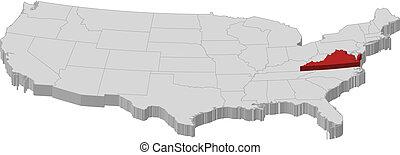 destacado, mapa, unidas, virgínia, estados