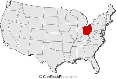 destacado, mapa, unido, ohio, estados