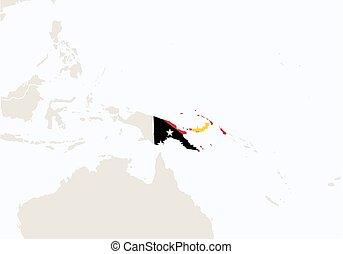 destacado, oceania, guiné, map., papua, novo