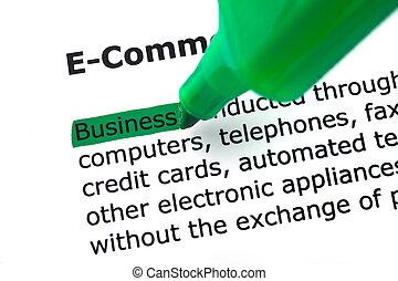 destacado, verde blanco, palabra, comercio electrónico