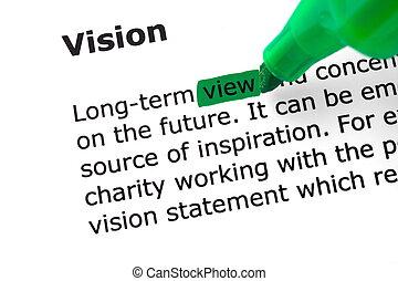 destacado, verde, palabra, visión