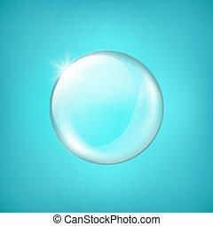 destaque, esfera, transparente, resplendores, vidro