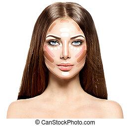 destaque, face., mulher, contorno, maquilagem