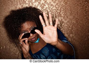 destello, agarrado, mujer, photographer\'s