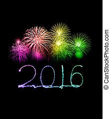 destello, fuego artificial, año, nuevo, 2016, feliz