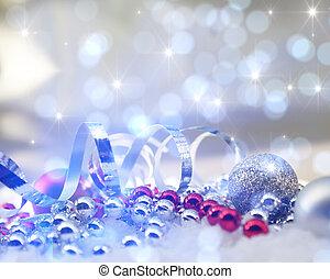 destello, navidad, plano de fondo, con, decoraciones