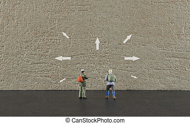destiantion arrows on travel point