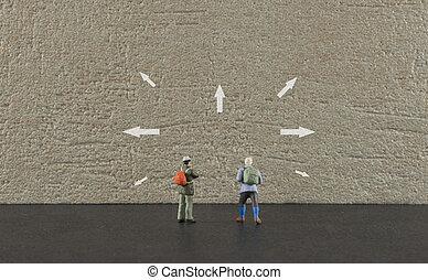 destiantion, nyílvesszö, képben látható, utazás, mutat
