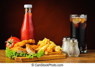 destillationsapparat liv, hos, kylling guldklumper, og, fransk steger