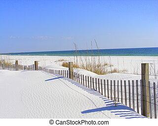 destin, tengerpart, fehér, florida, homok