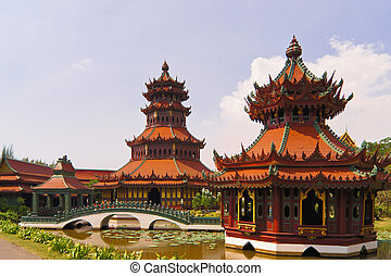 destinaciones, antiguo, thailand., turista, arte