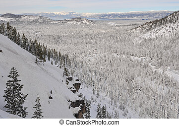 Destination Location Lake Tahoe California Covered in Snow