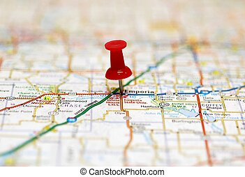 Map with red push pin marking destination