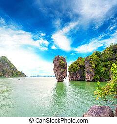 destination., nga, james, reizen, baai, archipel, eiland, thailand, phang, obligatie