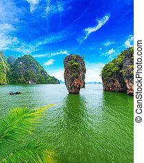 destination., nga, james, viaje, bahía, archipiélago, isla, tailandia, phang, bono
