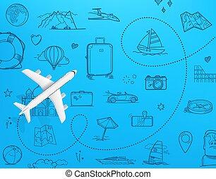destination., reise, design, draufsicht, schablone