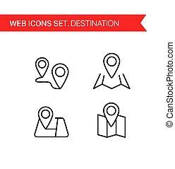 Destination. Thin line icons vector set