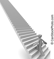 Destination to success concept - Man stepping on long ...
