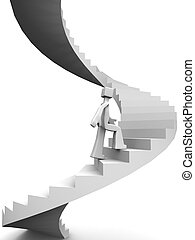 Man stepping on curve stairway to his destination 3d illustration