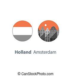 destination, urbain, voisinage, hollande, voyage, maisons, horizon, cityscape, europe, amsterdam, tourisme, architecture, rang