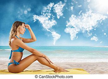 destination., viaggiare, dall'aspetto, bikini, nuovo, ragazza, sedere, spiaggia