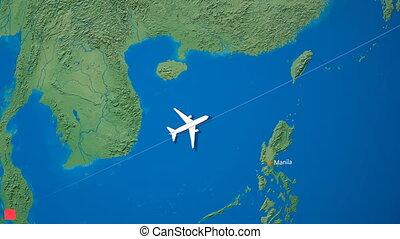 "destination, voyage, parcours, japan."", voler, malaisie, ""..."
