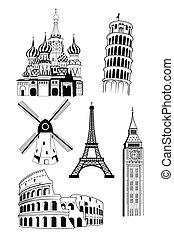 destinations, style, européen, voyage, encre