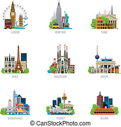 destinations, voyage, vecteur, ensemble, icône