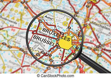 destinazione, -, bruxelles, (with, ingrandendo, glass)