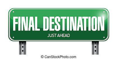 destinazione, illustrazione, segno, disegno, finale, strada