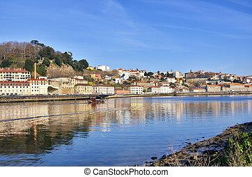 destinazione, portoghese, turista, porto