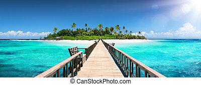 destinazione tropicale, -, maldive, -, banchina, per, isola paradiso